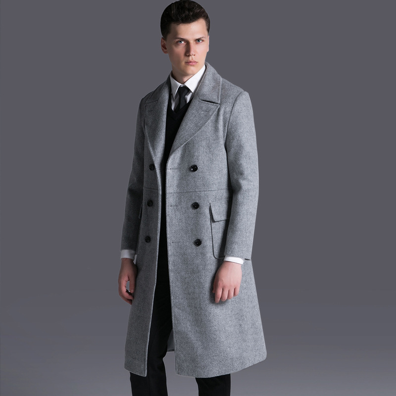 5f62f624cc1 US $112.1 41% OFF|Ultra Long Poncho Over Knee Wool Blend Men Winter Coat  Korean Style Business Casual Mens Long Trench Coat Wool Overcoat Clothes-in  ...