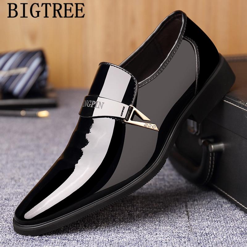 Patent Leather Dress Shoes Men Formal Elevator Shoes For Men Loafers Men Winter Shoes Coiffeur Chaussure Homme Erkek Ayakkabi