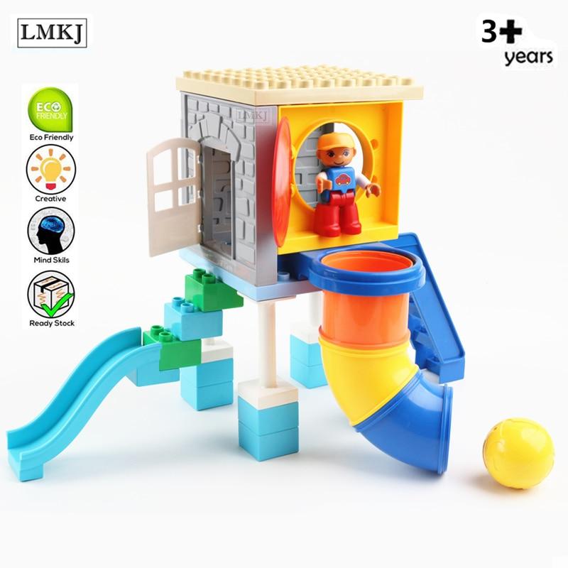 Diy Balls Slide In Tube Curve Straight Pipe Accessories Duploe Building Blocks Bricks Duploed Toys For Children Kids Gift