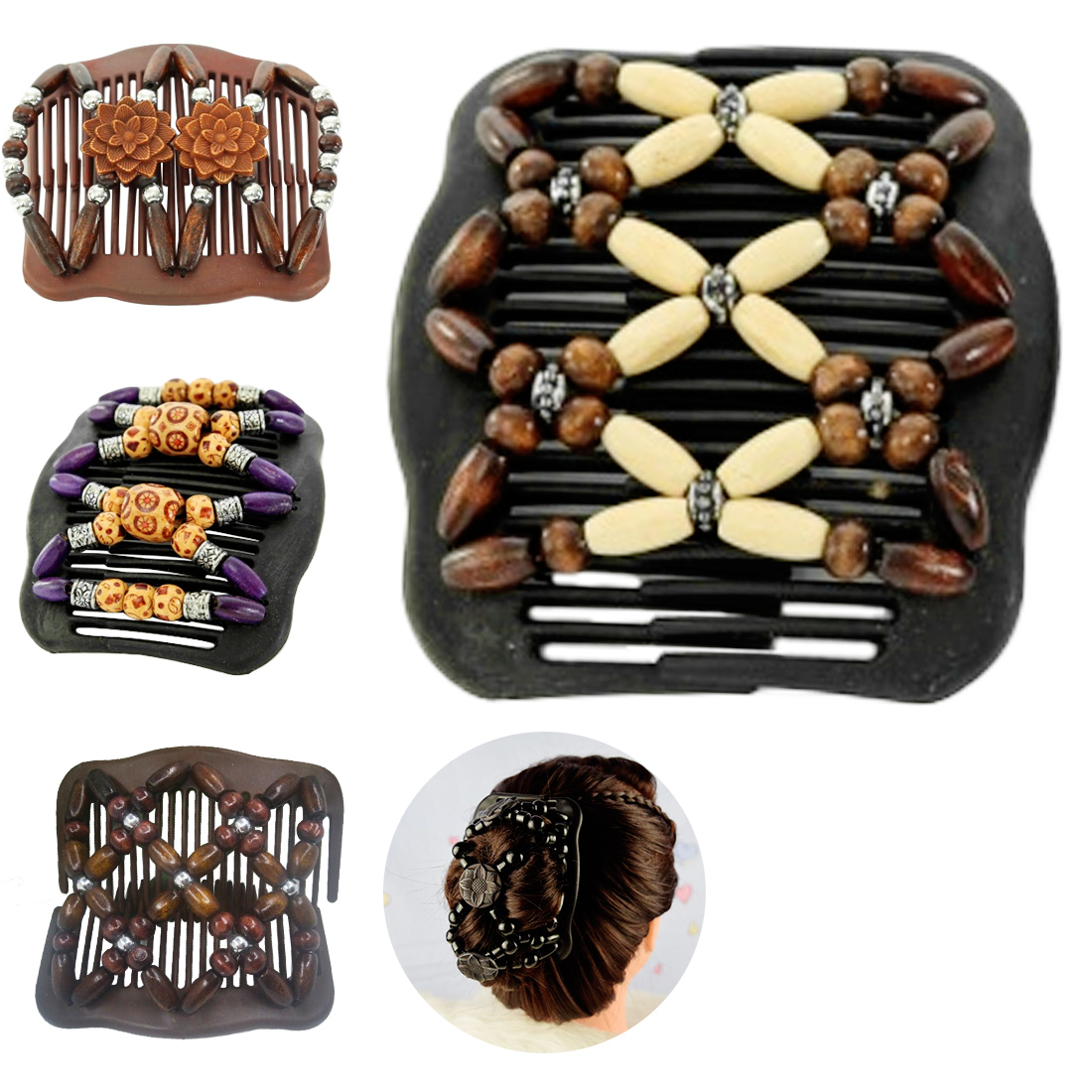 Image 3 - Wedding Ethnic Fashion Vintage Magical Retro Double Beaded Hair Comb Clip Beads Elasticity Hairpin Stretchy Hair Combs Pins-in Combs from Beauty & Health