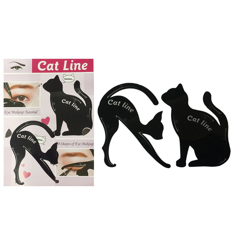 2 Pcs Eyeliner Drawing Cat Shape Template Cards Fashion Cosmetic Tool Kits Smokey Cat Eyes Makeup Accessory Beginner Use