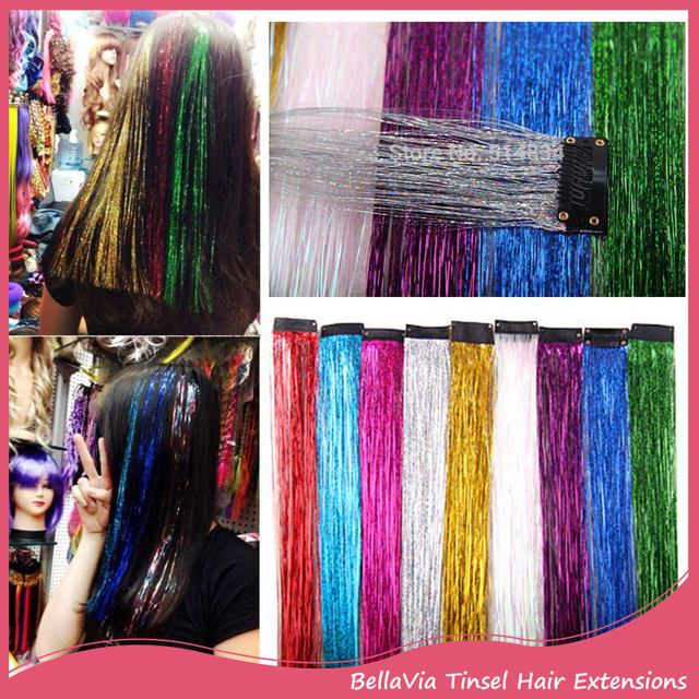 20pcslot 16inch Bellavia Tinsel Hair Extensions Bling String 3d