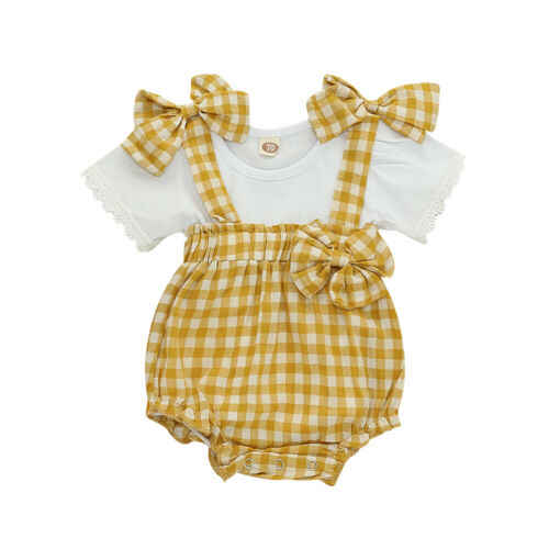 Ropa de bebé niña blanco de manga corta de cuello redondo Camiseta Top amarillo Bowknot Plaid Sling corto babero general pantalones conjunto de ropa