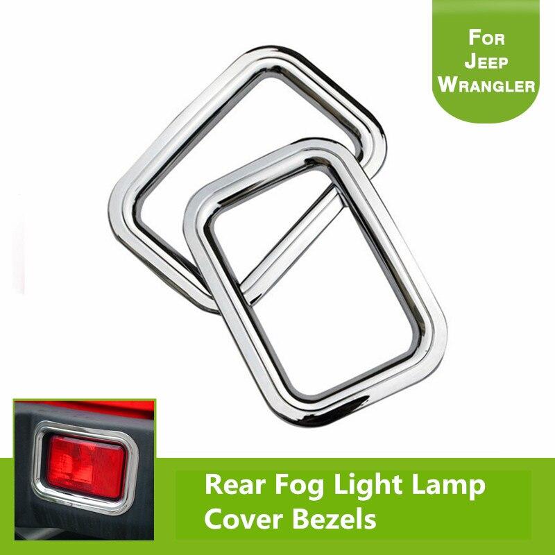 2Pcs Steel Rear Fog Light Lamp Cover Bezels Chrome Trims Ring for 2007-2016 Jeep Wrangler JK & Unlimited 24Door