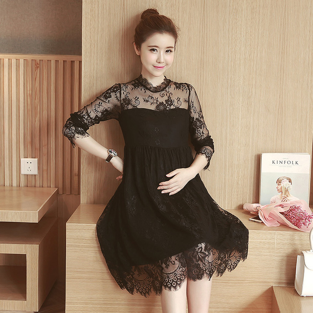 a8dbbd28c53 New Spring Summer Expectant Mother Casual LaceDress Half Sleeve Loose Maternity  Dress Leakage of Shoulder Pregnant Women Clothes