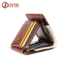 JOYIR Men Wallets Genuine Leather Vintage Trifold Wallet Coin Pocket Purse Cowhide For Mens Male Portomonee RFID