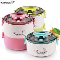 Portable Food Thermo Double Lunch Boxs Kids Thermal Bento Lunch Box Platic PP Stainless Steel Dinnerware
