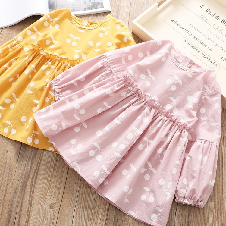 Everweekendหวานเด็กสาวแขนยาวแฟชั่นใหม่ชุดเด็กสาวพิมพ์เชอร์รี่สีชมพูชุดสีเหลือง