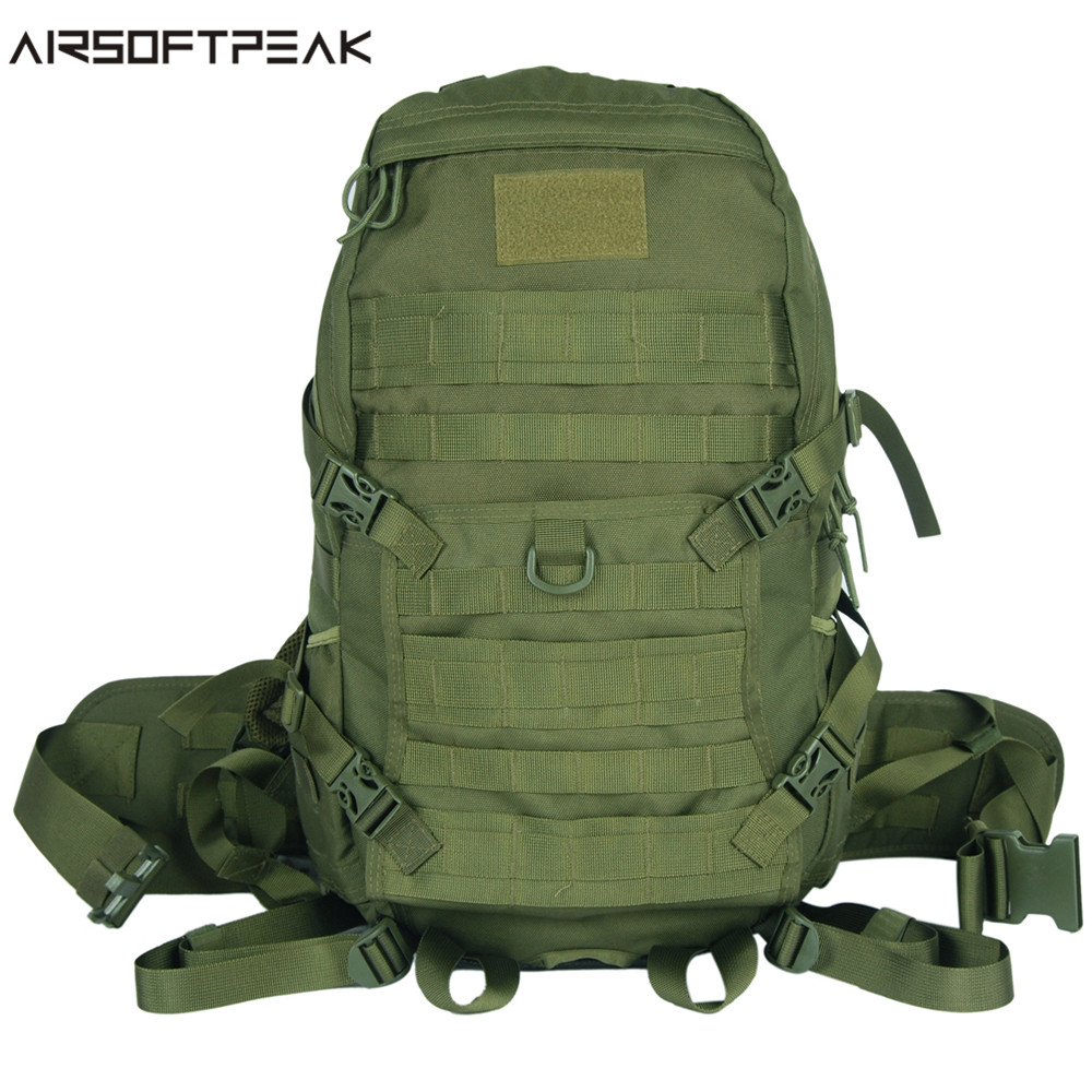 AirsoftPeak Tactical Molle Every Day Carry Backpack Men's Military Combat Nylon Backpack Outdoor Hiking Camping Bag Black/OD цена
