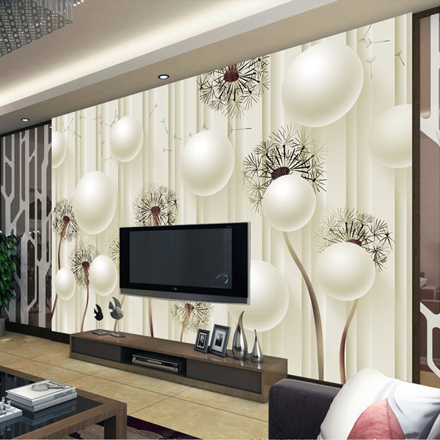 Elegant Wallpaper For Wall: Custom Photo Wallpaper 3D Dandelion Wallpaper Elegant Wall