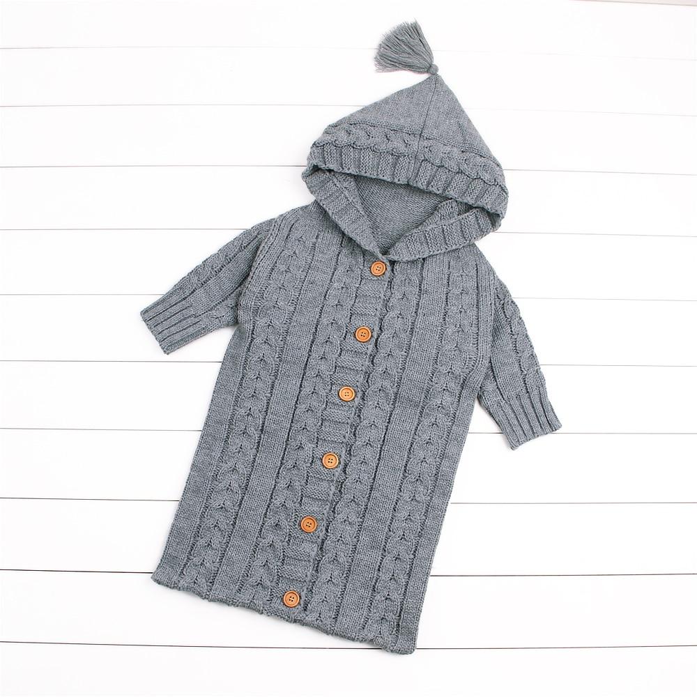 Warm Knit Baby Sleeping Bags With Sleeve Spring Crocheted Newborn Boys Girls Sleep Sacks Winter Infant Stroller Envelopes 0-12M