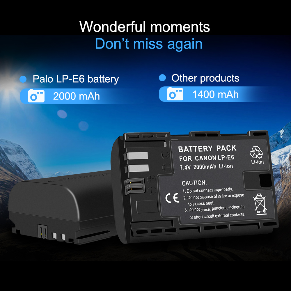 PALO 2 PCS lp e6 digital battery LCD display Comes with USB LP E6 batteries charger For Canon EOS 5D Mark IV 7D Mark II 6D 70D in Digital Batteries from Consumer Electronics