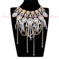 Mother's Day Gold Chain Cluster Crystal White Acrylic Pearl Tassels Statement Choker Necklace