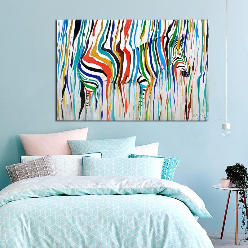 2017 Colourful Rainbow Zebra Animal Wall Art 50% Handmade Oil Painting Canvas Prints Big Home Lliving Room Bedroom Decoration