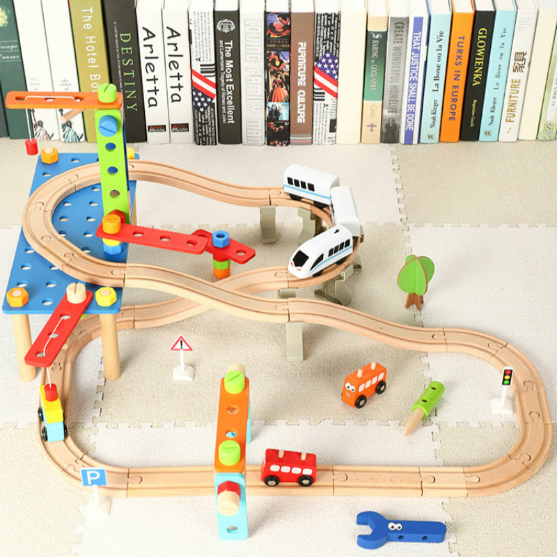 Wooden Electric Train Track Suit Children's Educational Toy Nut Disassembly Scene Scene Building Block Railway Track Toys Gifts