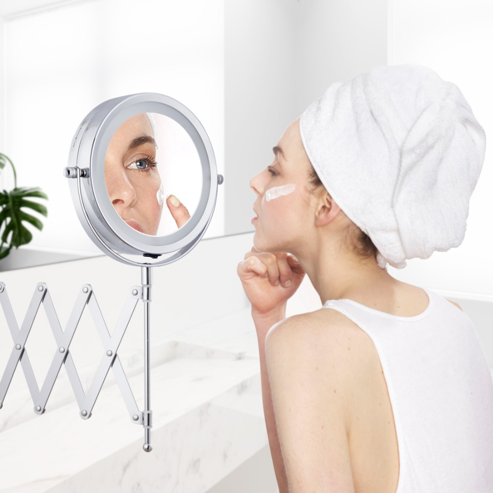 Led Makeup Mirror Bath Mirror Magnification Wall Mounted Adjustable Cosmetic Mirror Dual Arm Extend 2-Face Bathroom Mirror 3X
