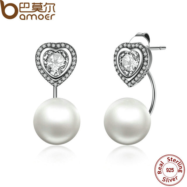 Sterling Silver Heart and Pearls Female Drop Earrings