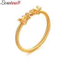 LOULEUR 2017 Vintage Gold Color Viking Dragon Bracelet Bangle For Men Stainless Steel Expandable Wire Bangle