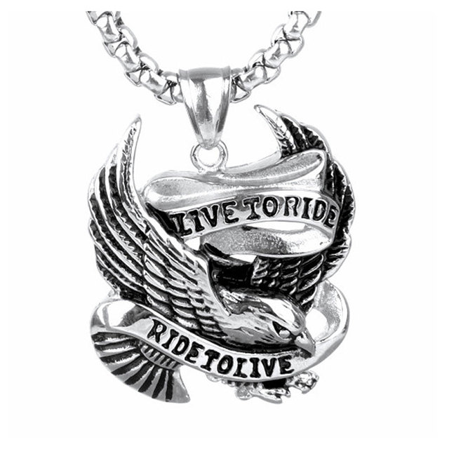 Fashion Punk Rock Stainless Steel Eagle Pendant LIVE TO RIDE Necklace for Men Bi
