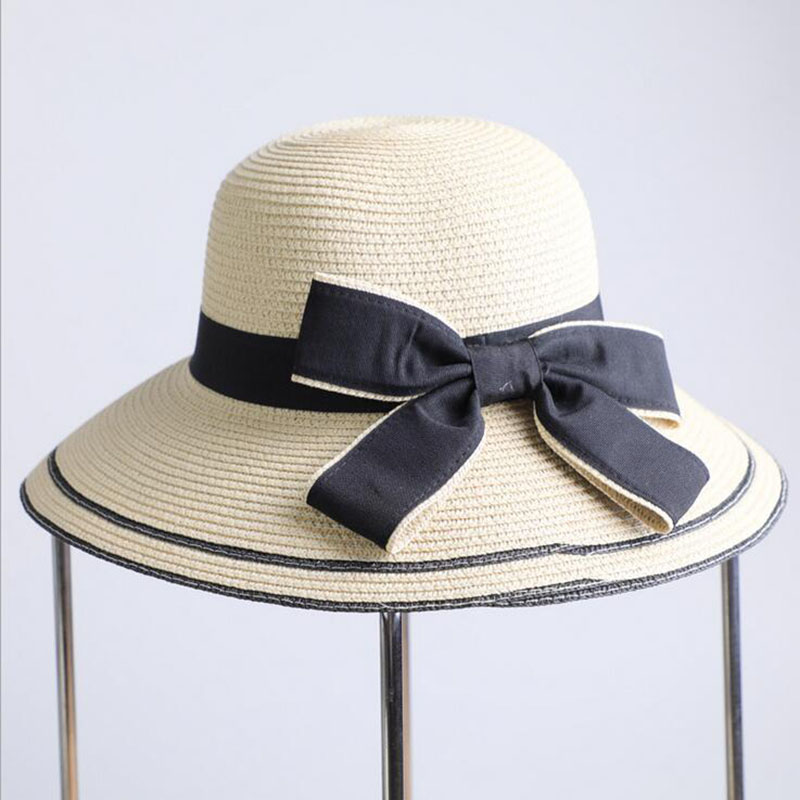 BINGYUANHAOXUAN Summer Wide Brim Beach Women Sun Hat Straw Stylish Cap For Women UV Protection Black bow Straw Hats Girls Hot in Men 39 s Sun Hats from Apparel Accessories