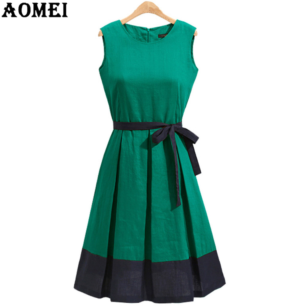 bc17196a68 Woman Summer Sundress Pleated Casual Green Plus Size Office Work Wear Swing  Linen Dress Sleeveless Vestidos Robe 3XL XXL Tunics-in Dresses from Women s  ...