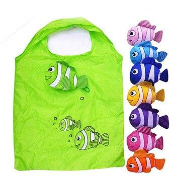 Hot Eco Storage Handbag Tropical Fish Foldable Shopping Bags Cartoon Folding Portable Bag Women Grocery Polyester Large Bag