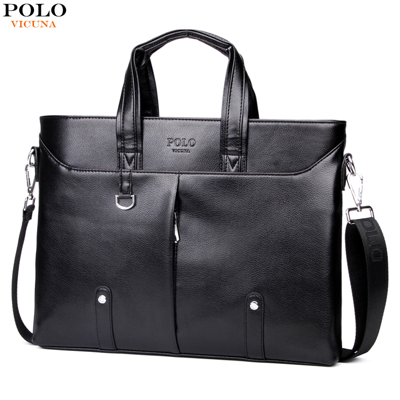 80fb3ddf18 VICUNA POLO Unique Rivet Design Men Briefcases With Vertical Silt Pocket  Perfect Quality Casual Male Office Bag Man sac homme
