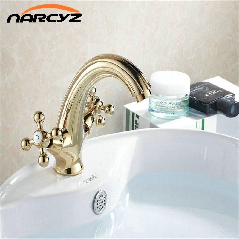 Robinet de salle de bain or Double croix poignée évier mélangeur robinet monotrou bassin robinet poli bassin TapG1014