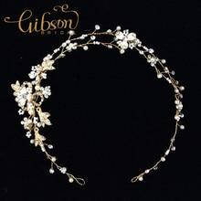 Envío gratis plata o chapado en oro perla y Rhinstone hechos a mano de la boda celada vid