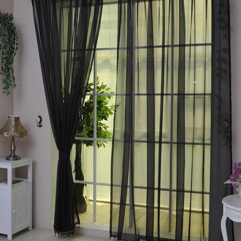 Sheer rideaux noir promotion achetez des sheer rideaux for Rideau fenetre salon