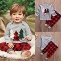 XMAS Toddler Kids Baby Boys Long Sleeve Christmas Trees Print T-Shirt Tops + Pants 2pcs Clothes Outfits Set Winter Clothes 21