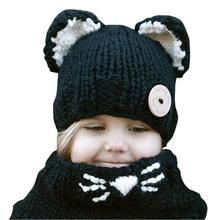 цены на Cute Cartoon Animal Fox Handmade Hats For Kids 1-8 Years Baby Girls Boy Wrap Dinosaur Fox Scarf Caps Winter Children Knitted Hat  в интернет-магазинах