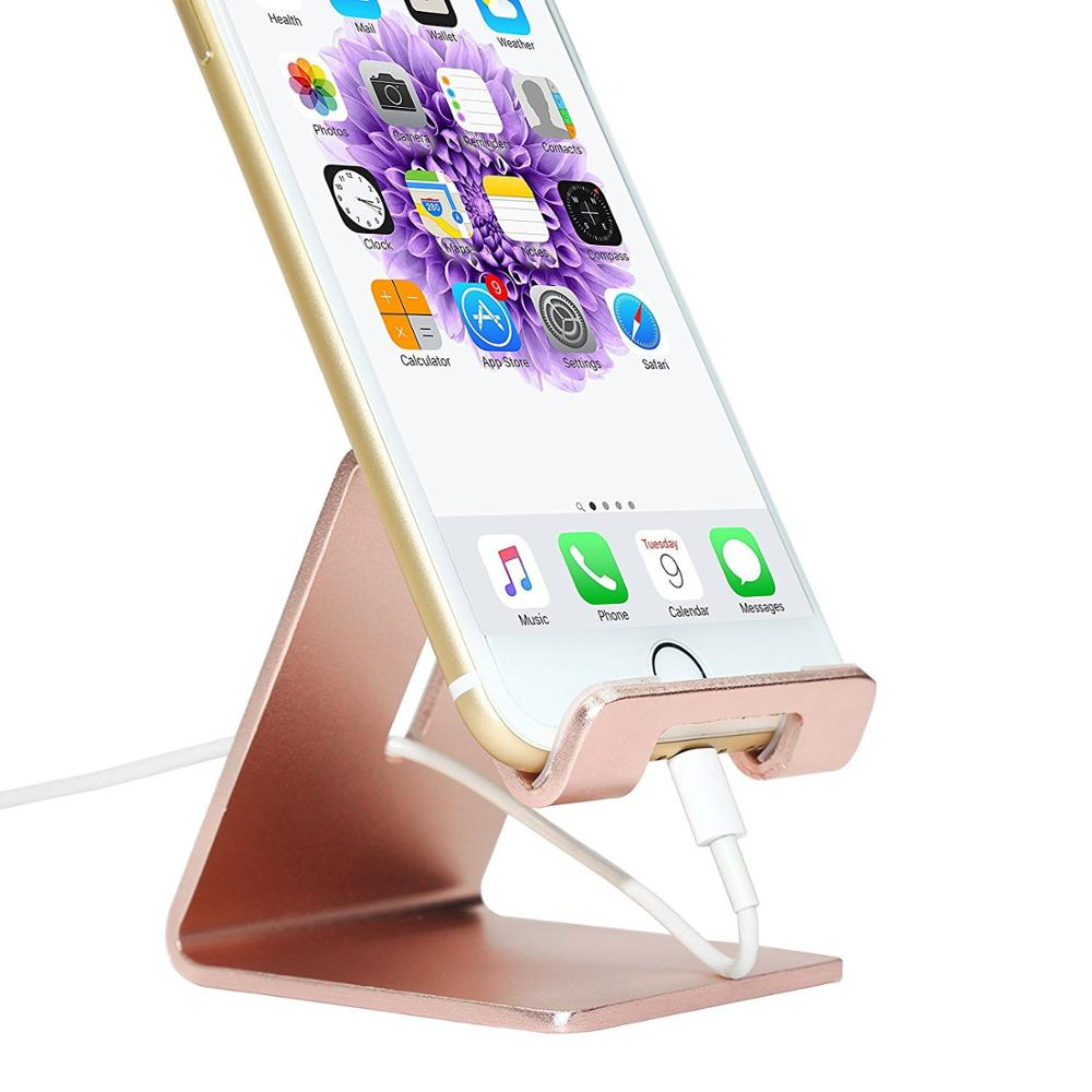 Aluminum Alloy Mobile Phone Holders For Desk Charger Dock Station For IPhone X Samsung Huawei Smartphone Support Stand Bracket