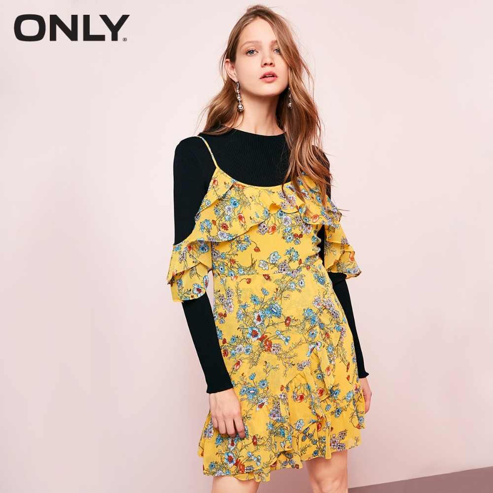 Только осеннее шифоновое клетчатое платье с цветочным принтом с асимметричным хвостом, двухслойное платье с оборками | 118107676