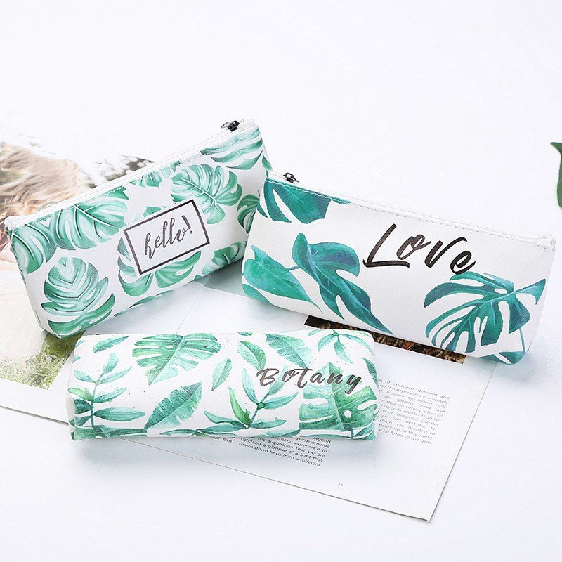 1pc Kawaii Pencil Case Fresh Green Leaf Gift Pencil Bag School Pencil Box Pencil Organizer School Supplies Stationery