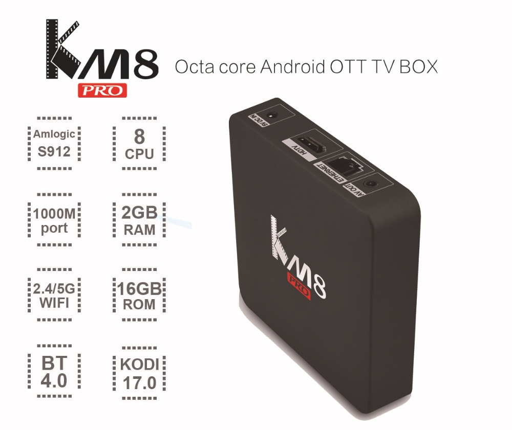 KM8 PRO Android Tv Box Amlogic S912 Octa Core Smart Media Player 2GB 16GB 2.4GHz/5.0GHz Dual Wifi 1000M LAN HDMI 4K Android 6.0