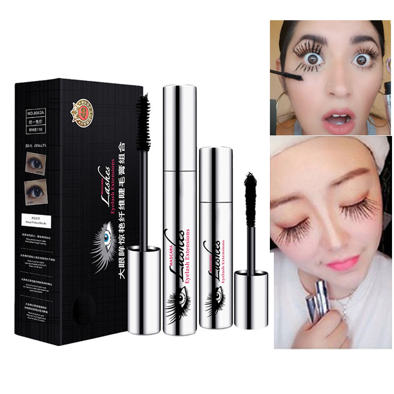DIDICAT 4D Silk Fiber Mascara Washable Eyelash Extension Makeup Waterproof Volume Mascara Kit Crazy Lengthening Long Lash 60pcs lot roller eye lash black mascara curling full volumizing mascara real beyond mascara black 8 5g eyelash extension