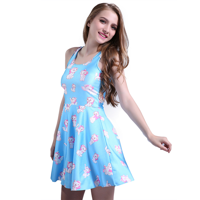 2016 New Fashion Sexy Women Casual Dress Marie Reversible Skater Dress Pleated Print Cat Dresses