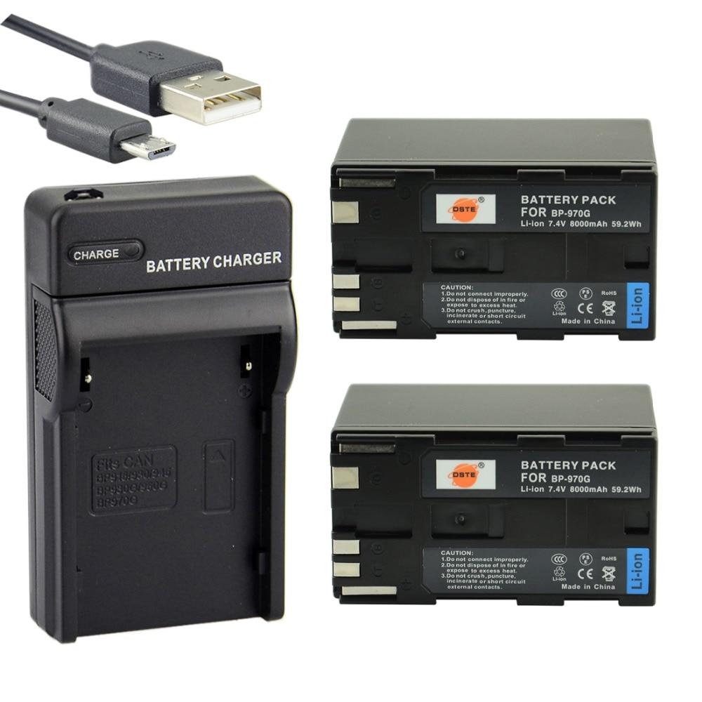 DSTE 2PCS BP-970G Li-ion Battery + UDC25 USB Port Charger for Canon XLH1 XHG1 XHA1 XL2 XM2 XH G1S XF305 XF300 XF105 Camera
