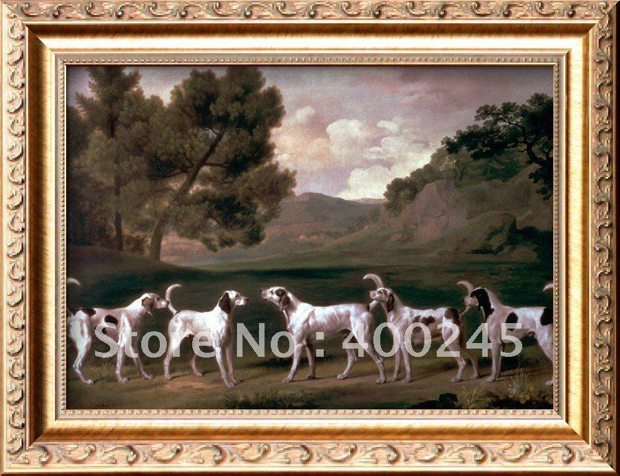 Картина с животными собаки Foxhounds в ландшафте Джордж Стаббс работа ручная работа++ Высокое качество