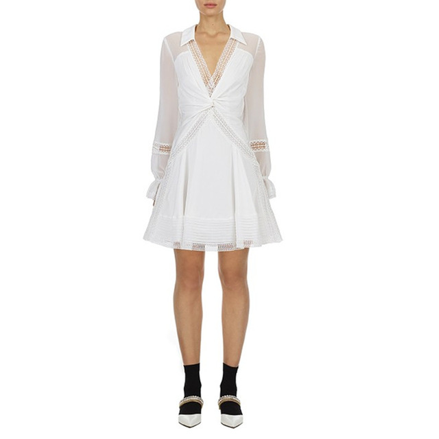 Hollow Out White Dress V...