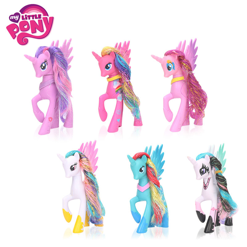 2018 14cm My Little Pony Toys Pony Princess Celestia Luna Rainbow Dash PVC Action Figure Twilight Sparkle Rarity Model Dolls 2018 my little pony toys the movie dj pon 3 big mcintosh rainbow dash pinkie pie rarity pvc action figure collectible model doll