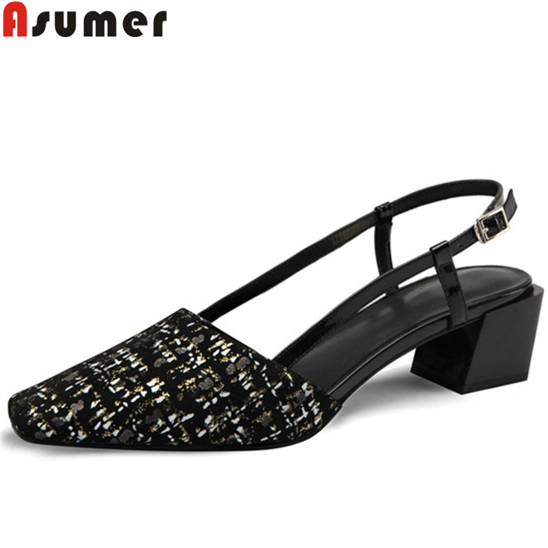 ASUMER Classic Sandals Shoes Square Toe Med-Heels Fashion Women New Suede