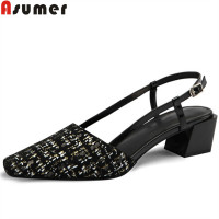 ASUMER fashion summer new shoes woman square toe suede leather shoes women med heels shoes classic sandals women