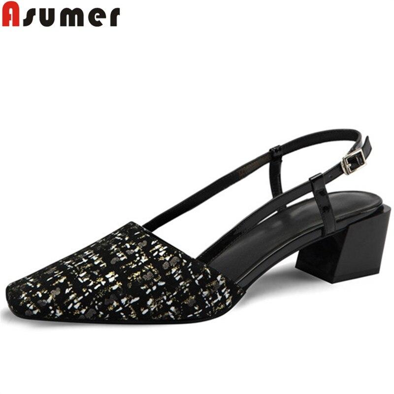ASUMER mode été nouvelles chaussures femme bout carré en daim cuir chaussures femmes med talons chaussures sandales classiques femmes