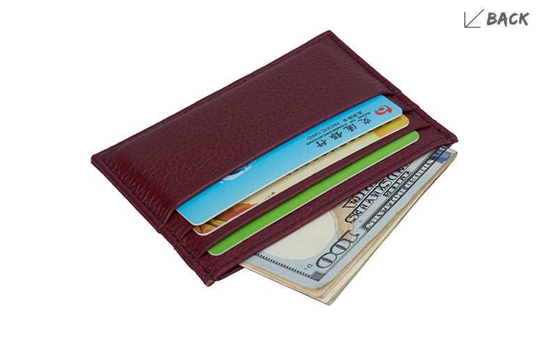 Prawdziwa skóra bydlęca ID posiadacz karty prawdziwej skóry krótkie cienki posiadacz karty portfel banku etui na karty kredytowe wielu gniazdo Slim biznes gotówki kieszeń