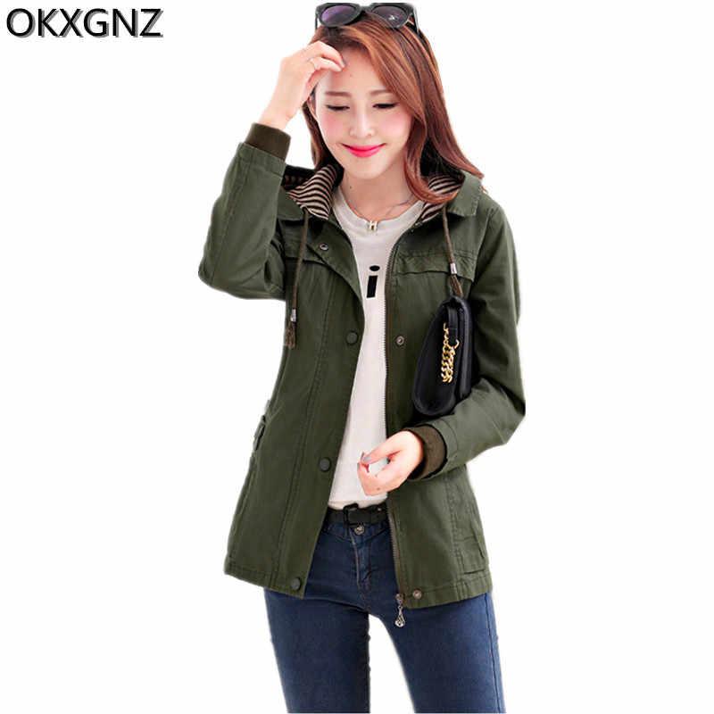 2017 frühjahr Neue Frauen Jacke Koreanische Mode Kurze Mantel Mit Kapuze Langarm Frau Grundlegende Mantel Einfarbig Große Yards Oberbekleidung A212