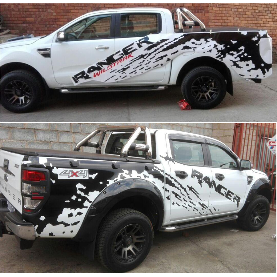 left and right mudslinger ranger with red wildtrack body rear tail side graphic vinyl for Ford ranger 2012 -2017sticker xuankun motorcycle accessories lx650 left and right tail body