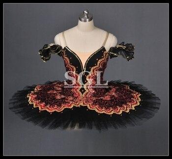 Free Shipping Adult Black Pancake Ballet Tutu Skirt For Girls Professional Custom Made Don Quixote Dulcinea AT1057 - sale item Stage & Dance Wear