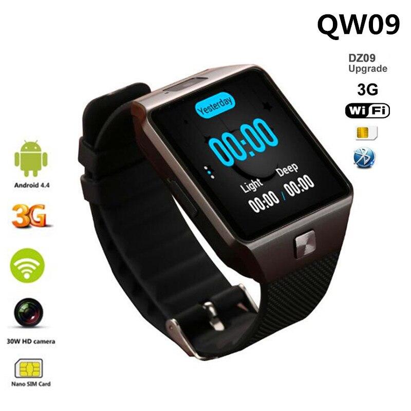 QW09 montre intelligente Android 4.4 3G WIFI 512 mo/4 GB Bluetooth 4.0 réel-podomètre carte SIM appel Smartwatch hommes femmes PK DZ09 V88 Q18